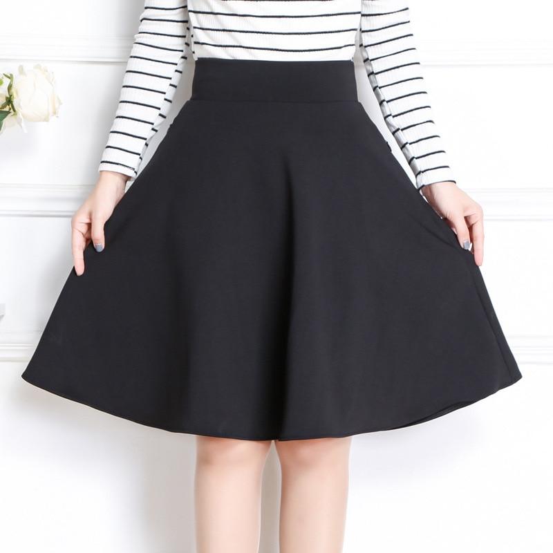 Primavera y primavera 2019, Falda Midi para mujer, moda coreana, ajustada, con bolsillo, cintura elástica, línea A, falda de talla grande negra Sexy, falda