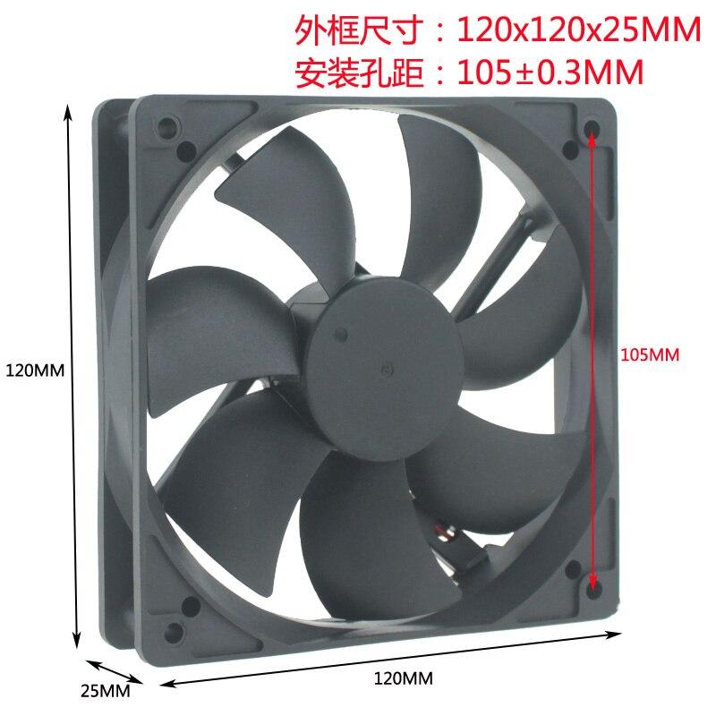 Dc 5 v 12 v 24 v 48 v 12 cm 120x120x25mm duplo rolamento de esferas refrigerador ventilador de refrigeração da máquina