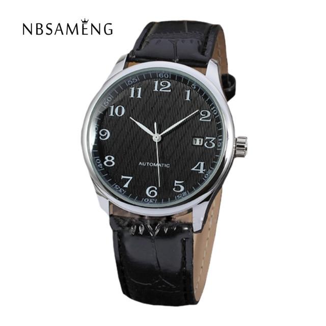 Automatic Mechanical Luxury Watch Men Leather Self Winding Wristwatch Brand Classic Auto Date Watches Relogio Masculino LZ305