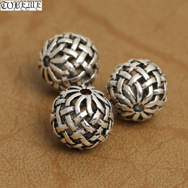 2 uds cuentas de nudo de la suerte de plata 925 hechas a mano, cuentas de nudo sin fin tibetano, accesorios de joyería malas beads