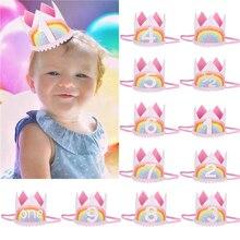 Bandeau élastique bébé arc-en-ciel   Bandeau élastique, bandeau de tête pour enfants anniversaire infantile, accessoires pour photographie 1-9ans Pro