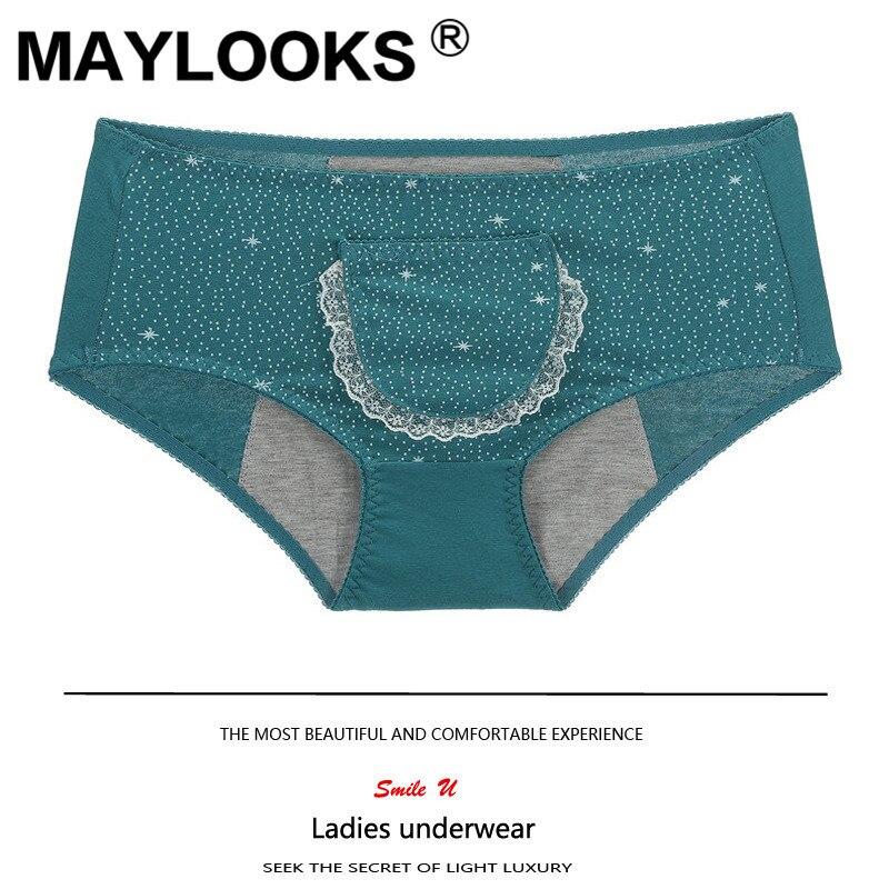 Maylooks pantalones fisiológicos pantalones menstruales de algodón cintura ropa interior de algodón P98