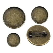20 pcs/lot Vintage rond blanc métal réglage lunette blanc Base Cabochon broche avec intérieur Dia.12mm 16mm 18mm 20mm 25mm 30mm K05060