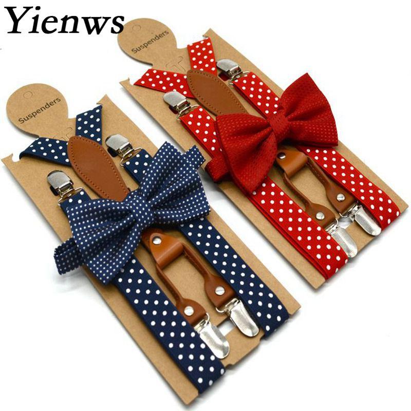 Yienws-bretelles en cuir à pois   Bretelles pour hommes femmes, 4 clips, bretelles nœud papillon pour adultes, rouge marine, YiA119