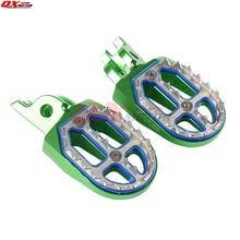 Billet MX Wide Foot Pegs Rests Pedals For KLX KXF KLX450R KXF250 KX250F KXF450 KX450F Motorcycle Motocross Enduro