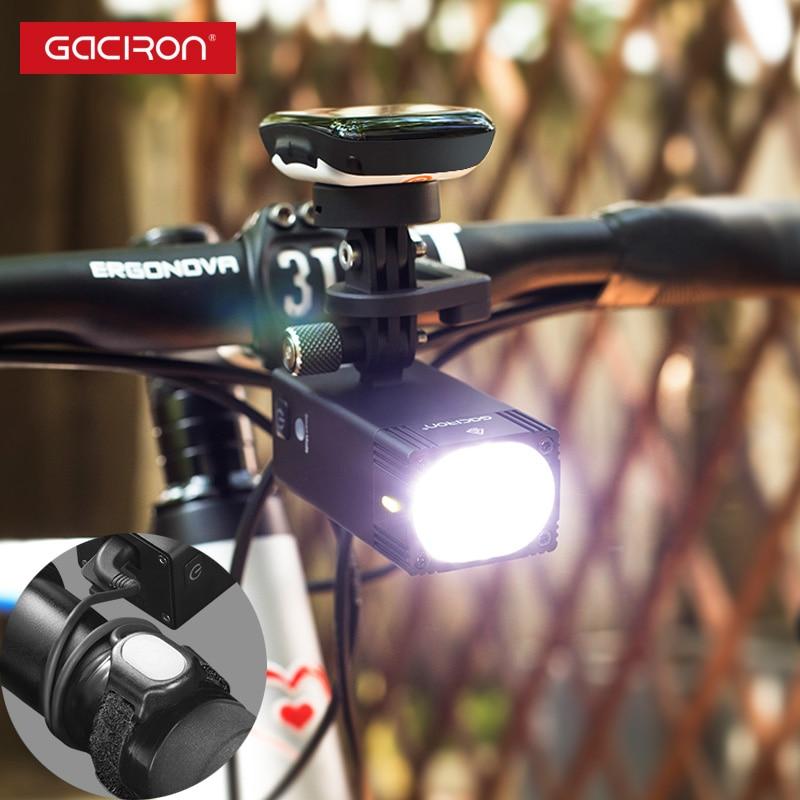 Gaciron 1000 1600 lúmenes Luz de bicicleta inteligente GoPro soporte de montaje recargable impermeable de bicicleta linterna de carrera profesional