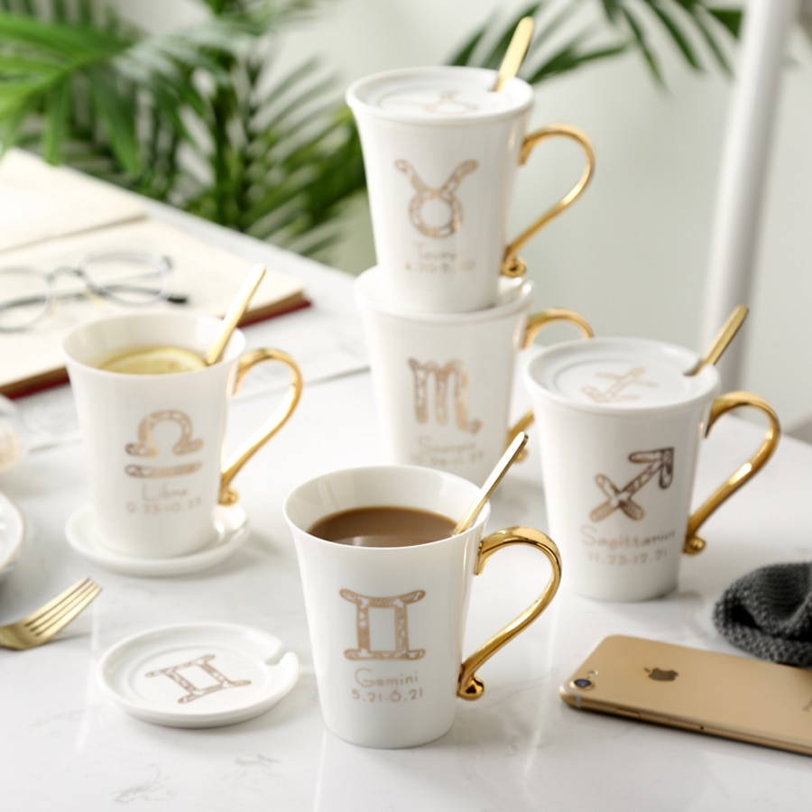 Jesteś ity caneca de café cerâmica design zodiaco, caneca de chá de porcelana com tampa e colher embalagem de caixa de presente