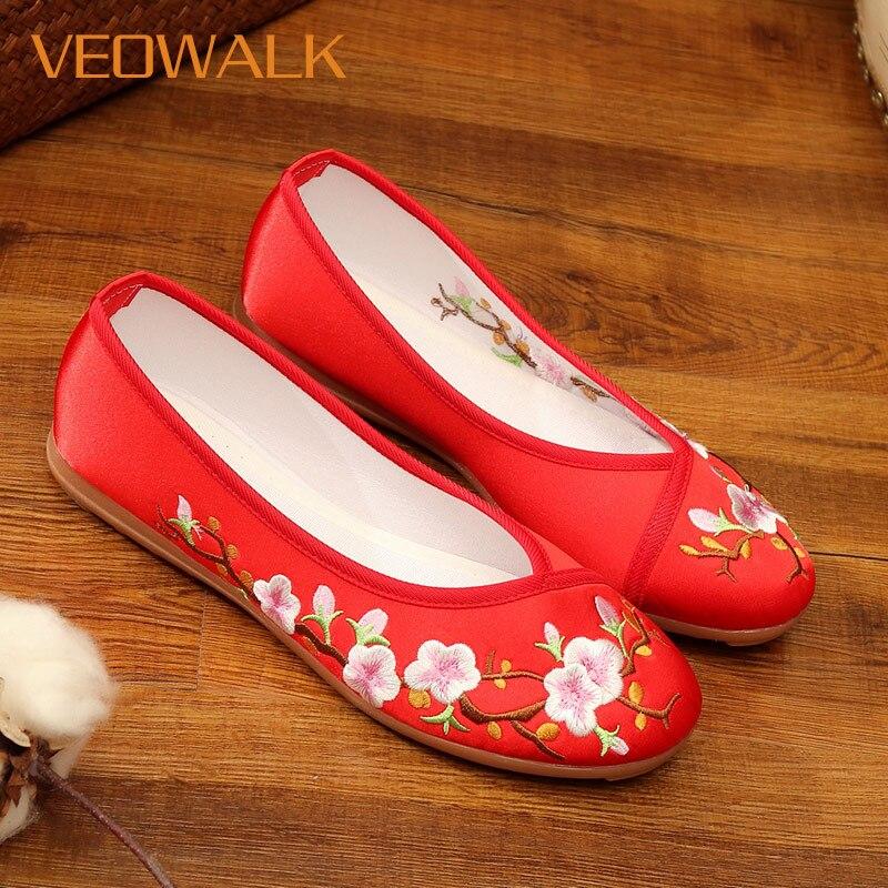 Veowalk flor de pêssego bordado feminino lona ballet flats senhoras casual conforto deslizamento-em bailarinas chinês hanfu cosplay sapatos