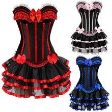 Frauen Burlesque Tänzerin Kleid mit Halloween kostüme vintage gestreiften floral lace up korsett bustier Mini rock Gothic Korsett