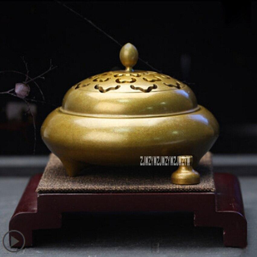 Quemadores de horno de incienso de cobre puro, disco antiguo de incienso de Buda, decoración interior, quemador aromático para ceremonia del té del hogar, H-20161119 caliente