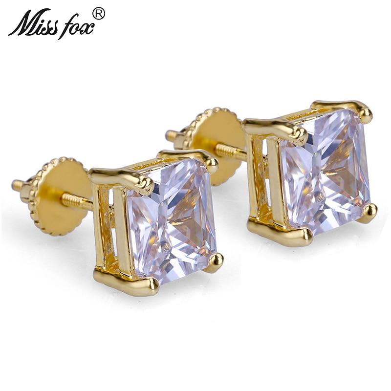 MISSFOX Hiphop 24K Gold Plated Fashion Diamond Ear Rings Square Zirconia Bijoux Personalized 6MM Piercing Men's Stud Earrings