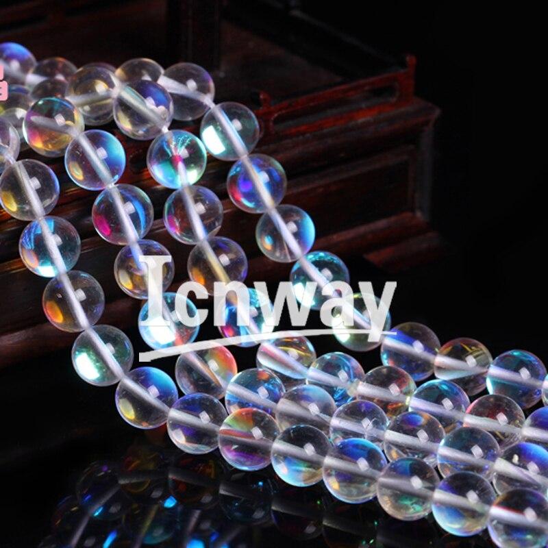 Natürliche Runde regenbogen weißem Quarz Perlen 6-10mm Für Schmuck Machen 15 zoll DIY Schmuck FreeShipping Großhandel