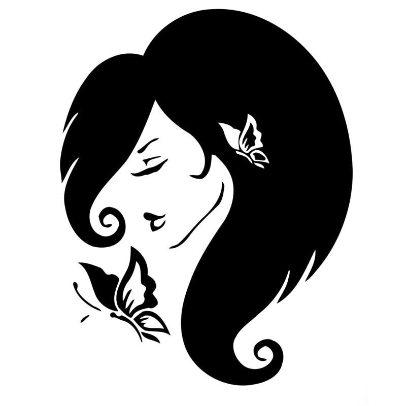 12,8 cm * 16,4 cm chica con decoración de mariposa coche estilo...