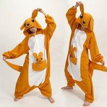 Winter Adult Kangaroo Onesies Pajamas Anime Costume Kangaroo Sleepwear Animal Pajamas Women pajamas Men Polar Fleece Sleepwear