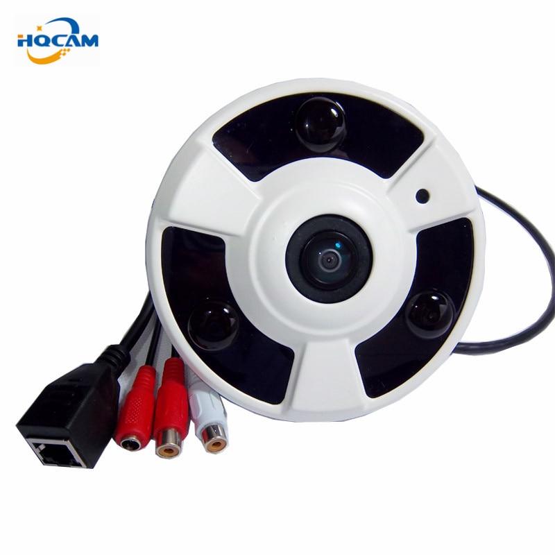 HQCAM 2,0 megapíxeles interior P2P 175 grados cámara IP panorámica de ojo de pez 3 uds soporte LED IR pantalla dividida soporte para pickup 1080P