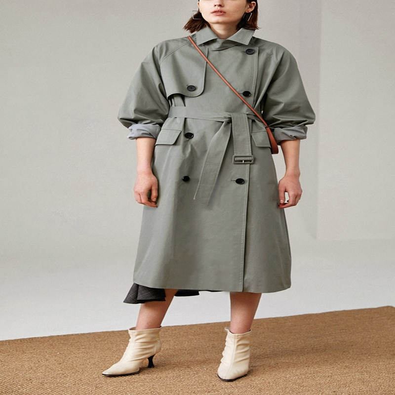 UK Brand new Fashion 2020 Fall /Autumn Casual Double breasted Simple Classic Long Trench coat with b