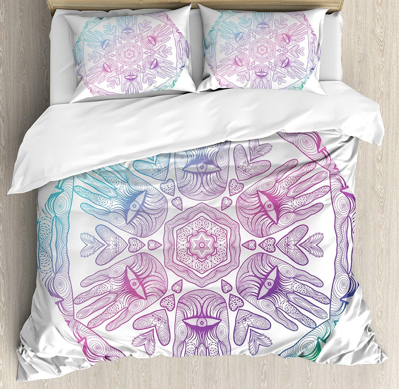Hamsa Duvet Cover Set Evil Eye temática Boho Ombre diseño de colores Hamsa manos Cosmos asiático místico Mandala juego de cama azul púrpura
