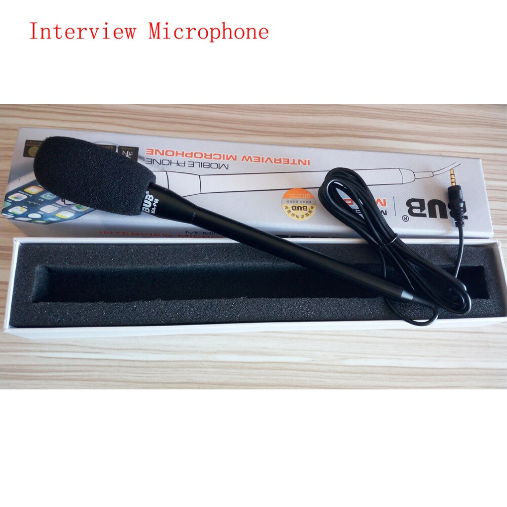 Micrófono portátil para entrevista de marca Bub, micrófono de grabación para iPhone 6S, iPad Air Pro, teléfonos Android, micrófono de mano direccional