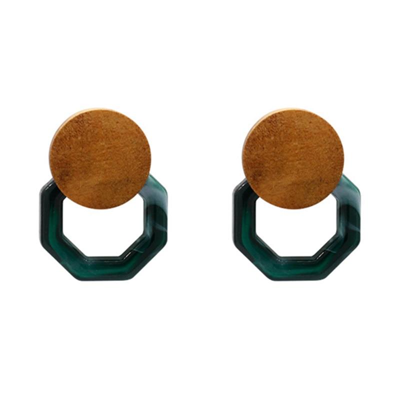Nova chegada outono mármore de madeira acrílico geométrica oco irregular brincos para mulher instrução vintage boucle doreille