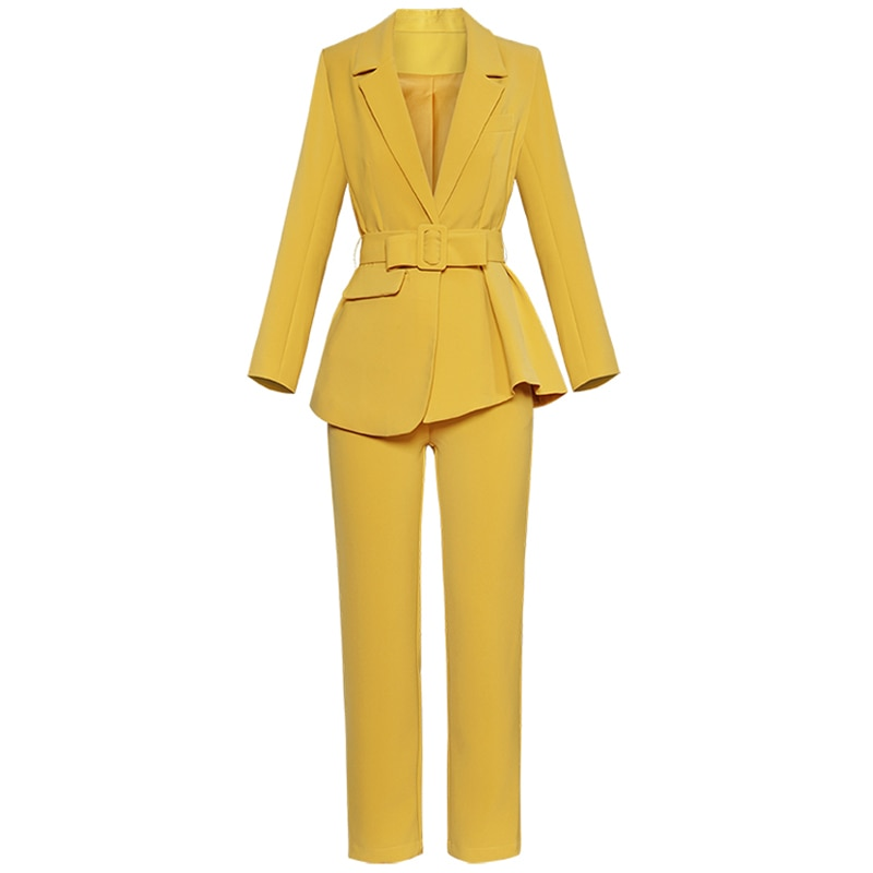 Novo outono conjuntos de moda feminina turn-down colarinho ponto aberto irregular jaqueta + calças retas ol temperamento terno 2018