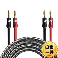 Câble haut-parleur prise banane HIFI à fil banane pour Home cinéma amplificateur multimédia OFC câble Audio blindé Audiophile