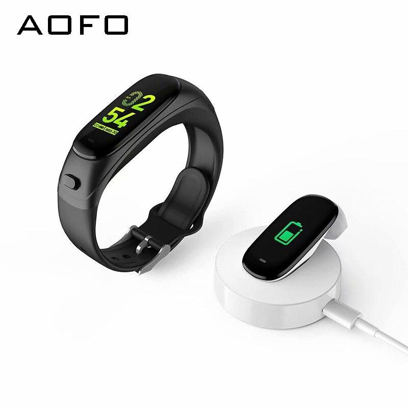 Fones de Ouvido Rastreador de Fitness com Negócios Monitor de Freqüência Aofo Bluetooth Pulseira Inteligente Cardíaca Pedômetro Rastreador