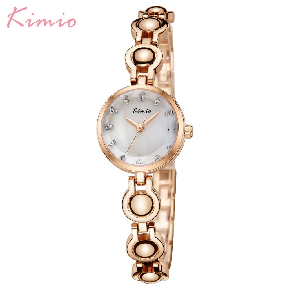 Kimio moda de marca de lujo dama relojes pulsera pequeño Dial pulsera de cuarzo mujer reloj resistente al agua reloj femenino Montre Homme caja