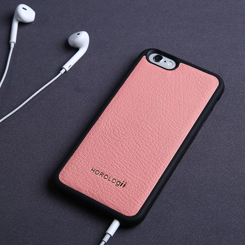 Horologii moda volta caso capa de telefone de couro real para o iphone x xr 7 mais doces cor da pele de cabra serviço nome personalizado