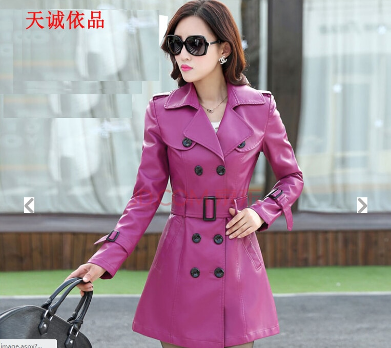 Free shipping !!! 2015 hot sale new winter fur whom big yards long han edition cultivate one's morality PU leather trench coat enlarge