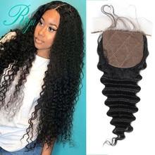 Riya Hair Brazilian Deep Wave Silk Base Closure Silk Top Closure With Baby Hair Hidden Knots Middle Part Human Hair Lace Closure