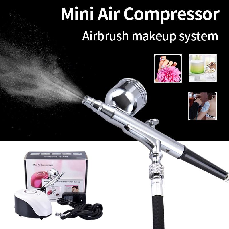 Dropshipping Mini compresor de aire Sistema de aerógrafo espray Art pen pulverización precisa para maquillaje ilustración tatuajes temporales