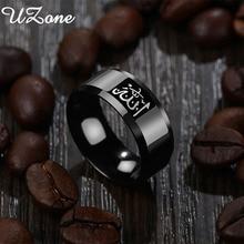 Черное мусульманское кольцо с надписью UZone, из нержавеющей стали, 8 мм