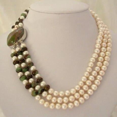 Nueva joyería de perlas, collar clásico de 3 filas de 7-8mm de perlas de agua dulce verde Ja-de, regalo perfecto para mujeres