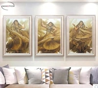 unframed 3 piecesset indian dancing beauty figure painting canvas wall art hd prints pictures for living room