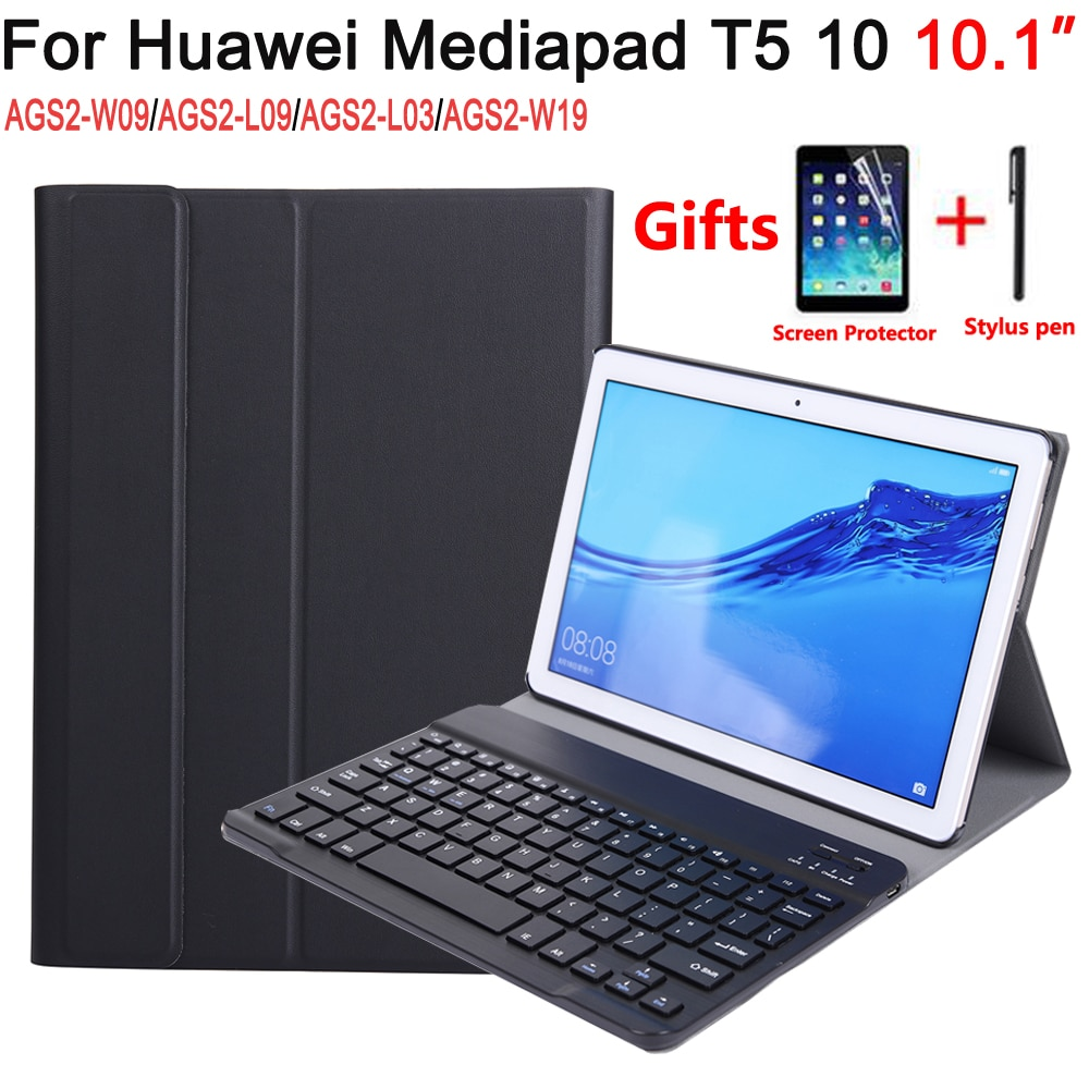 Funda para teclado Bluetooth para Huawei Mediapad T5 10 10,1 AGS2-W09/L09/L03/W19, funda para teclado para Huawei T5 10 10,1
