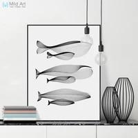 Moderne abstrait noir blanc ligne baleine famille A4 Art imprimer affiche mur photo minimale nordique maison deco toile peinture personnalisee