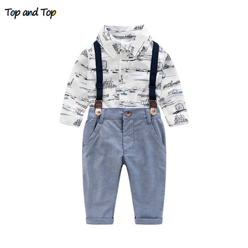 Partes de arriba moda Otoño Invierno niños ropa conjunto de manga larga Camisa estampada + tirantes Niño Pantalones Bebé Ropa traje