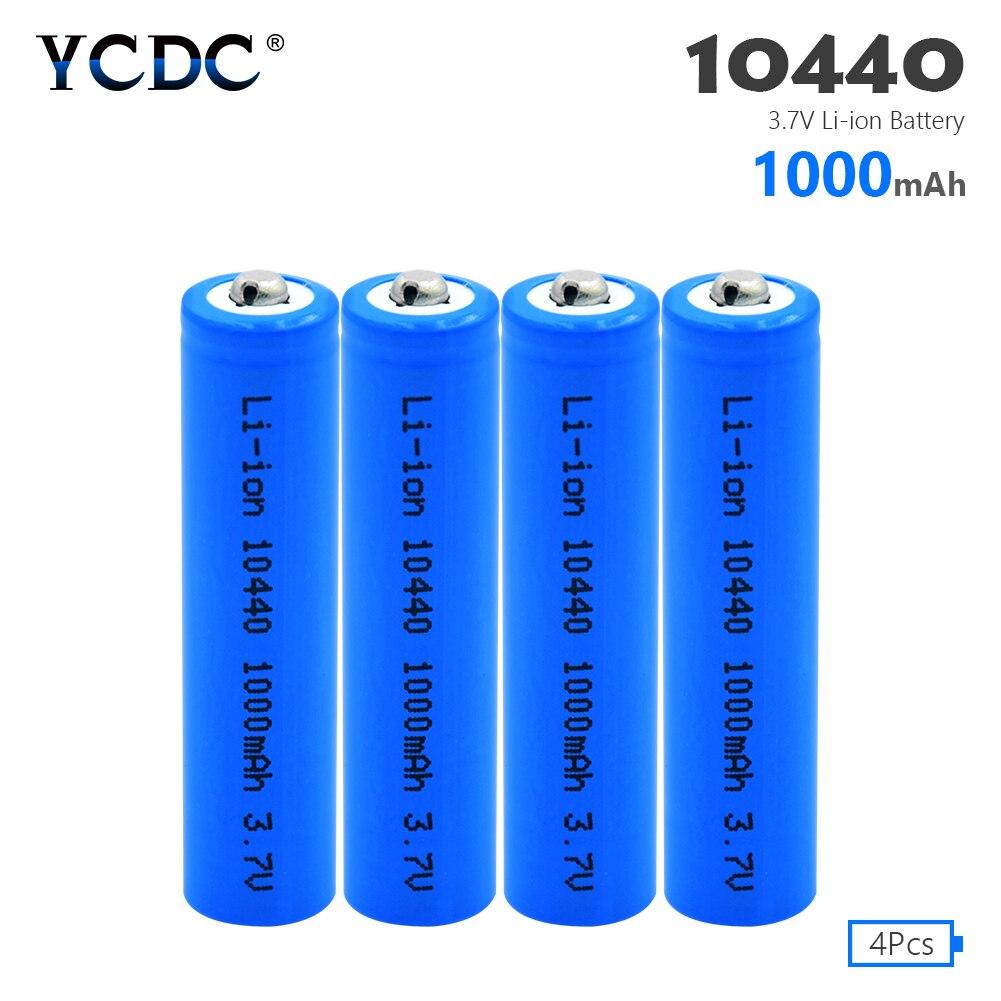 Batería de 10440 capacidad 1000mAh 3,7 V recargable de iones de litio pilas AAA botón superior baterías de iones de litio linterna rasuradora 4 Uds