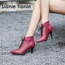 Sianie tianie laço até sapatos femininos salto alto tornozelo botas curtas outono primavera apontou toe vermelho bombas senhora sapatos tamanho grande 44 43
