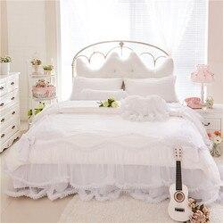 4/6 pcs 100% Jacquard de Algodão branco Princesa Menina rendas Têxtil Bedskirt Fronha Gêmeo Queen Size Rei Capa de Edredão Jogo de cama