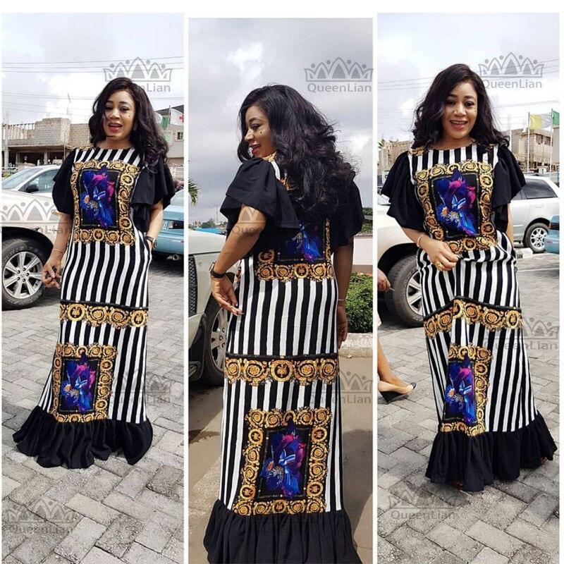 Nueva moda Bazin estampado Dashiki Yamadou manga elástica estilo suelto tradicional vestido africano para mujer (CPTW02)