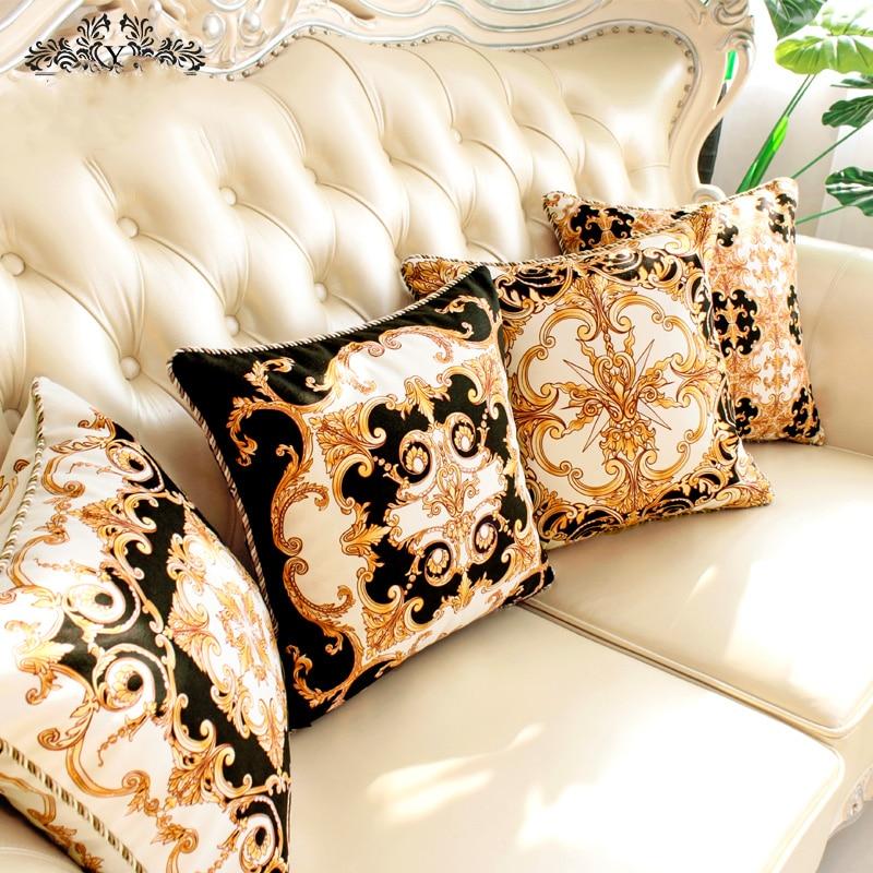 45cm estilo barroco de lujo funda de cojín retro sofá negro blanco amarillo terciopelo funda de almohada sofá lumbar funda de almohada hogar deco