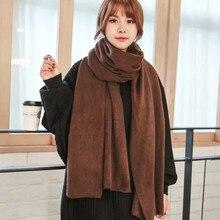 2019 Moda Inverno Lenço da Caxemira Das Mulheres Sólida Malha Pashmina foulard Xailes Wraps feminino grosso lenços bufandas invierno mujer