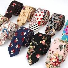 Cravate pour hommes en coton lin   Slim, décontracté, cravate de cou, Slim styliste fleur Animal étroit Vintage Floral, mariage, Corbatas