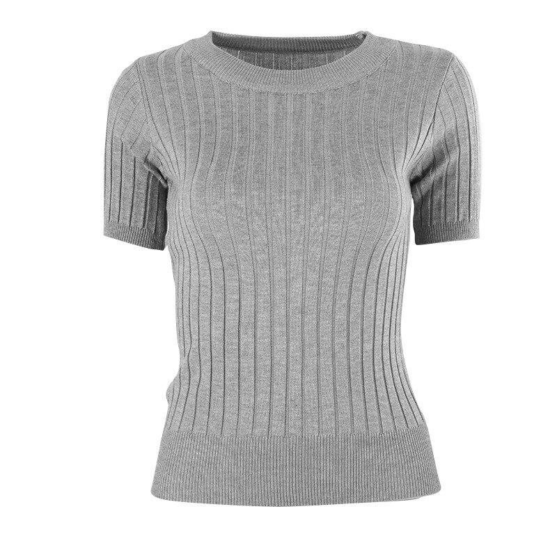 Camisola feminina de manga curta fina fina de camisola de fato apertado