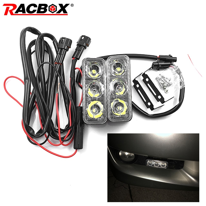 2Pcs/set 3LEDs Car Daytime Running Lights DC 12V Car Daytime LED Light Super Bright DRL Car Styling Universal