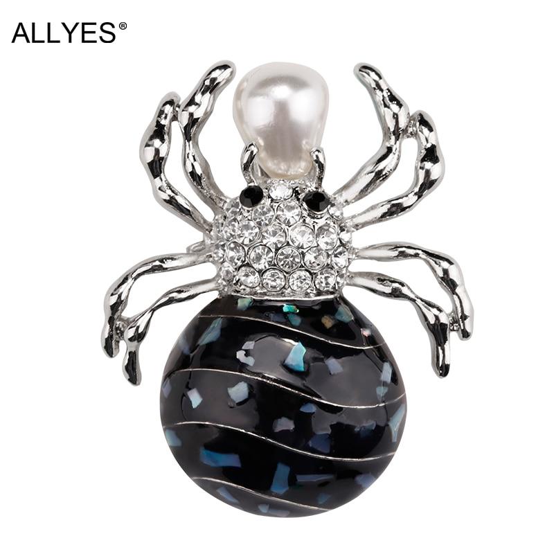 ALLYES Schwarz Spinne Broschen Für Frauen Elegante Party Kristall Natürliche Perle Emaille Pin Insekt Brosche Schmuck