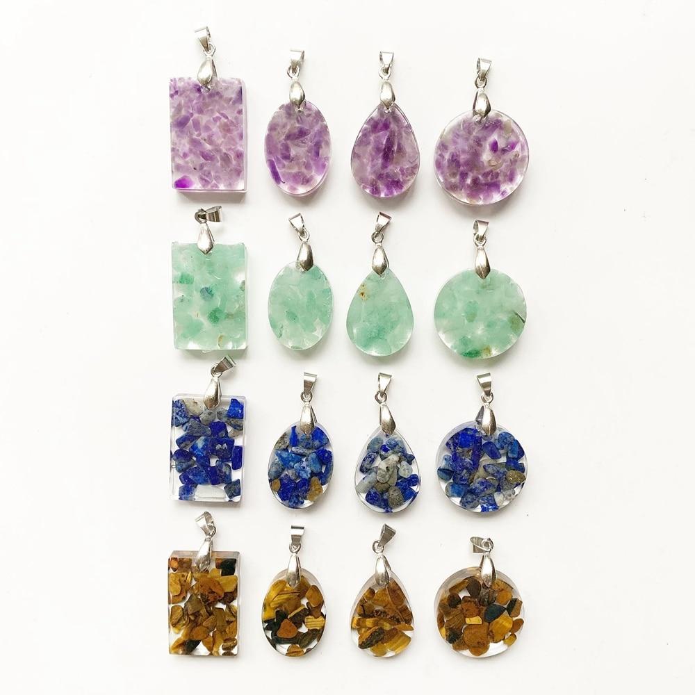 De cristal de amatista Natural Aventurina azul lapislázuli Ojo de Tigre piedras Chips colgante de la resina de curación energética Oval redonda lágrima rectángulo