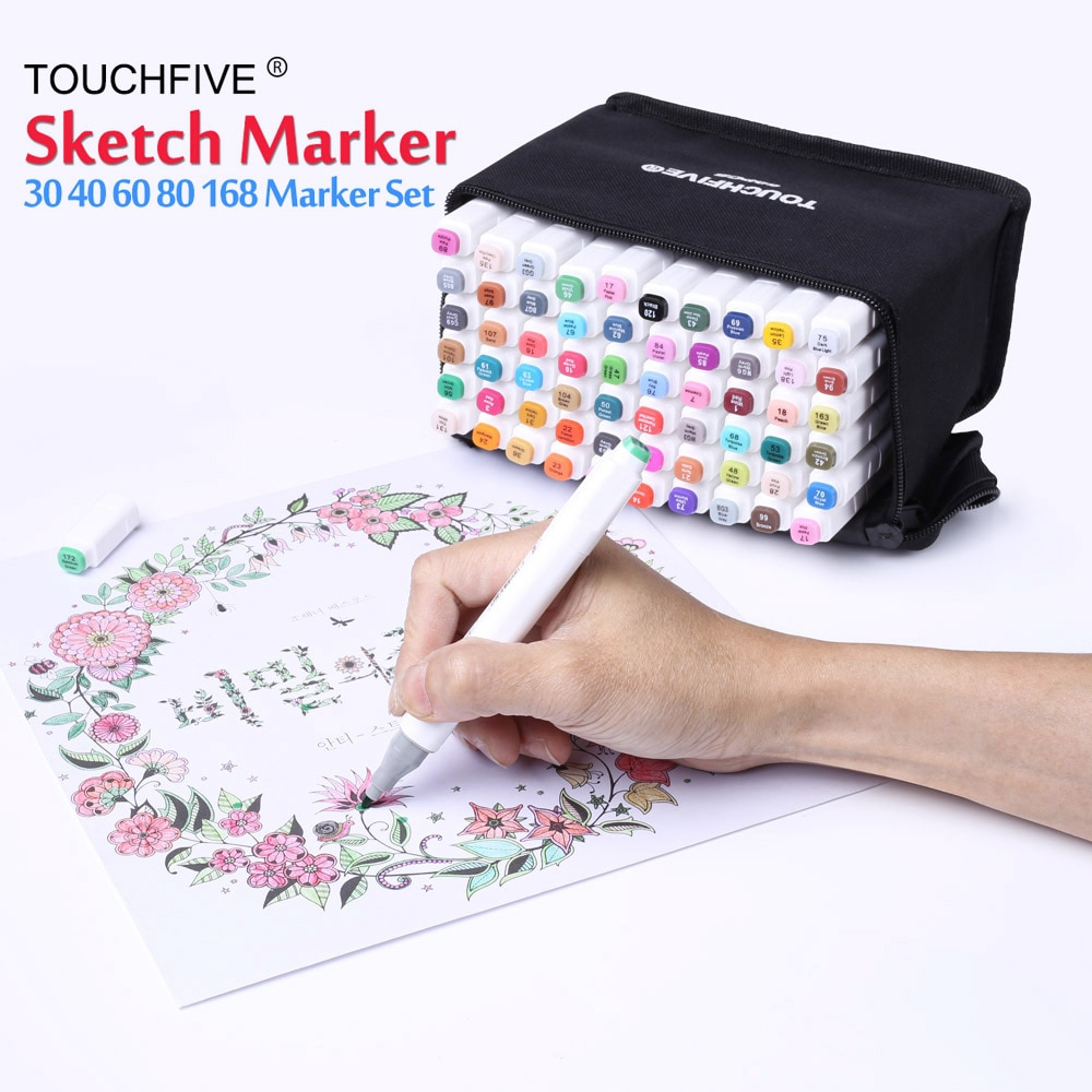 80 pcs assorted color dual tips paint art sketch twin marker pen alcohol based ink for art crafting poster coloring highlighting Art Drawing Marker Pen Set TOUCH FIVE 40 60 80 168 Color Alcohol Graphic Art Sketch Twin Marker Pen Gift sketchbook for painting
