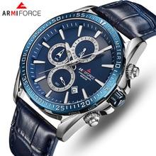 ARMIFORCE Top Brand Men Watches Leather Sports Wristwatches Quartz Men's Watch Male Date Waterproof mens Clock Relogio Masculino